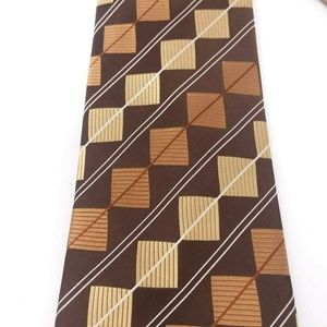 Steve Harvey Mens Tie Gold Brown Square Diamond